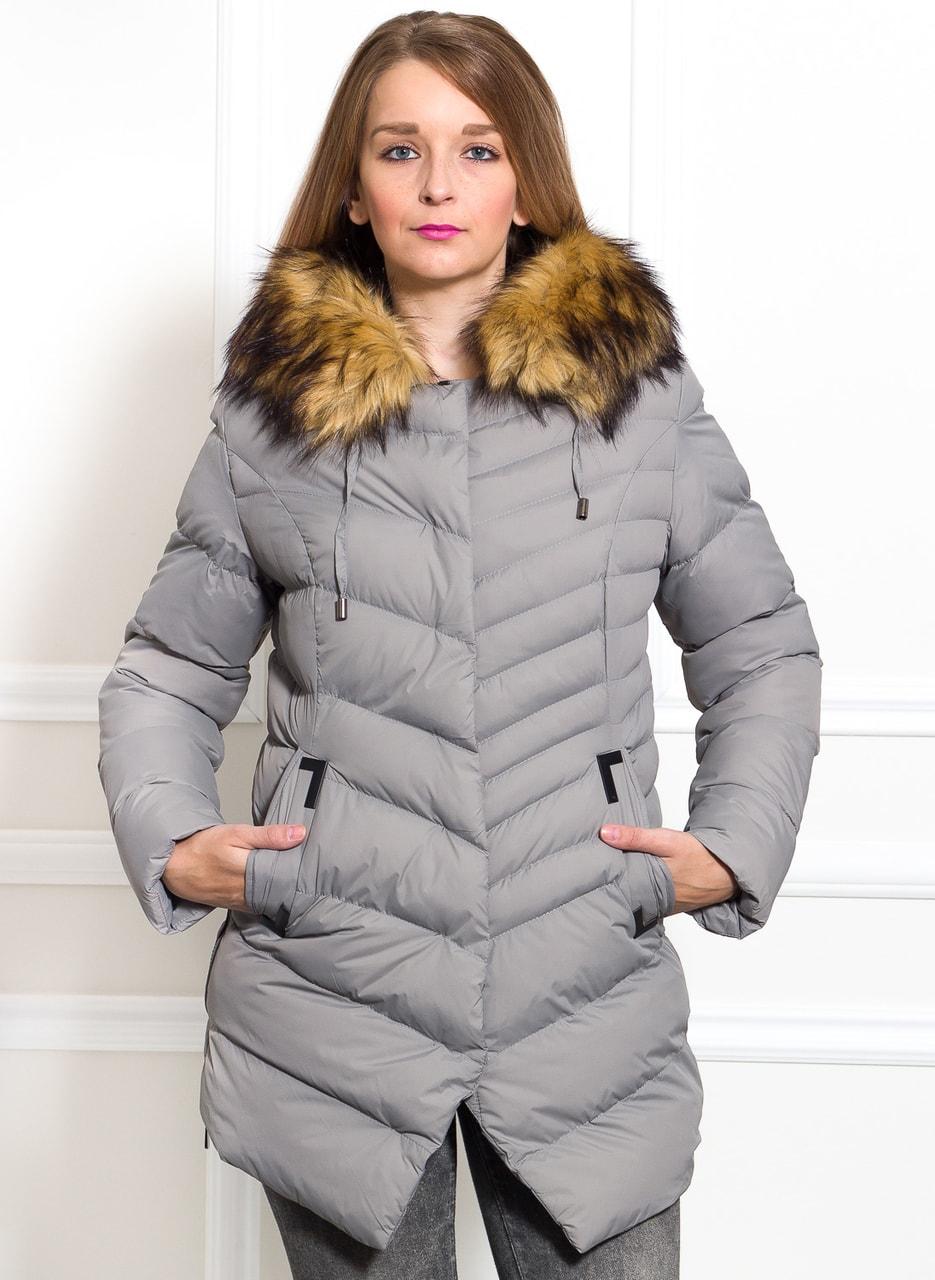 76f851db34 Glamadise.hu Fashion paradise - Női téli kabát Due Linee - Szürke ...