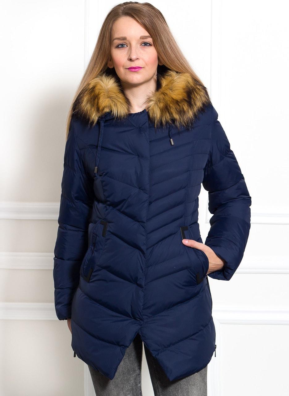 fa70b11b2e Glamadise.hu Fashion paradise - Női téli kabát Due Linee - Sötétkék ...