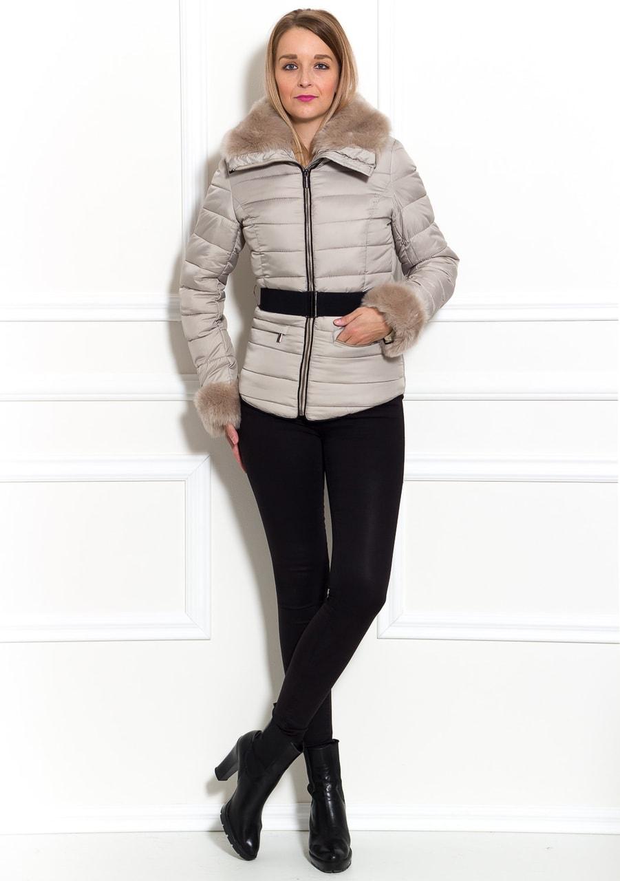 Glamadise.sk - Dámska zimná bunda béžová krátka - Due Linee - Bundy ... 36ea827fa24