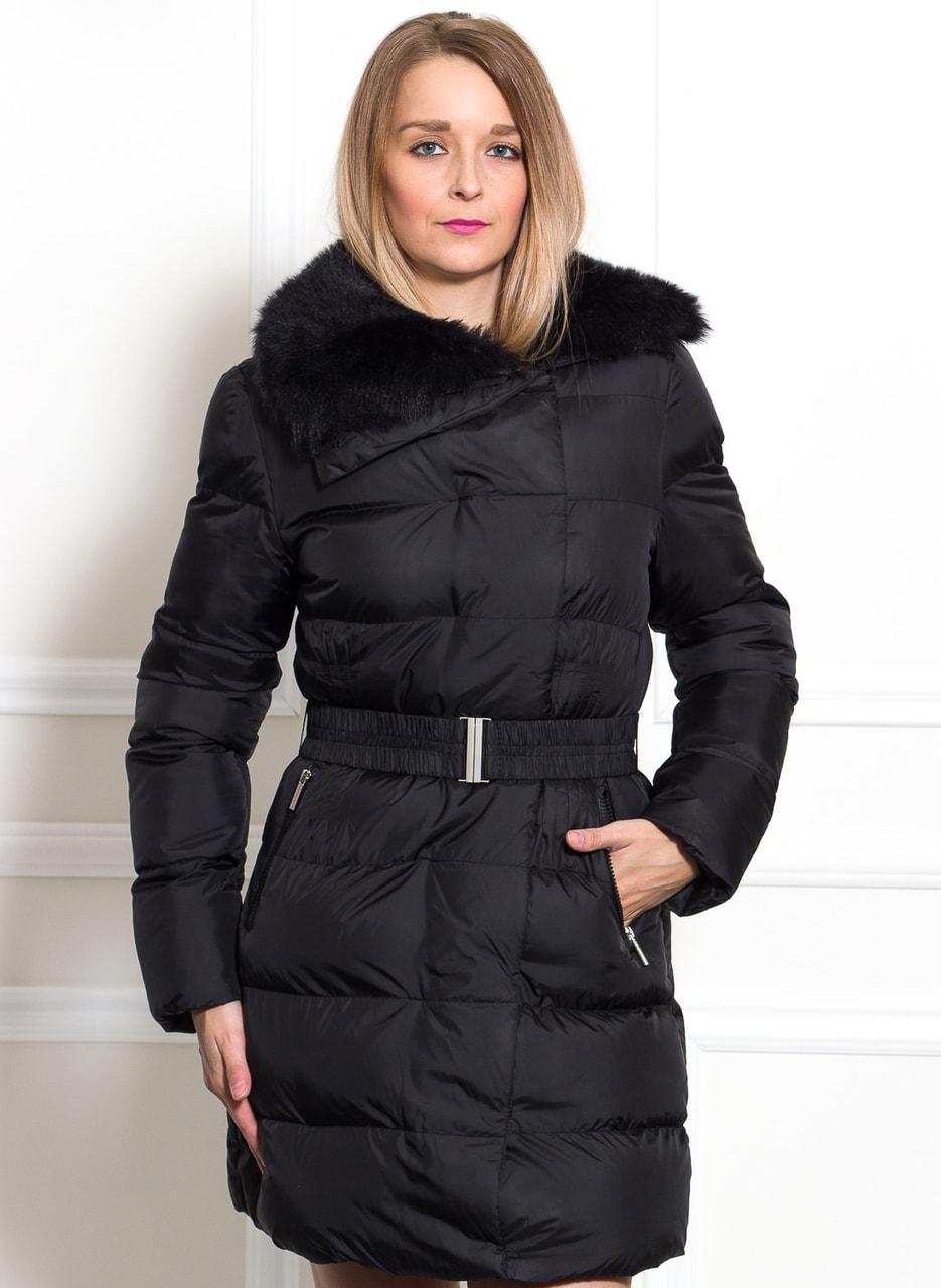 Glamadise.sk - Dámska čierna zimná bunda s opaskom - Due Linee ... 2948c90470c