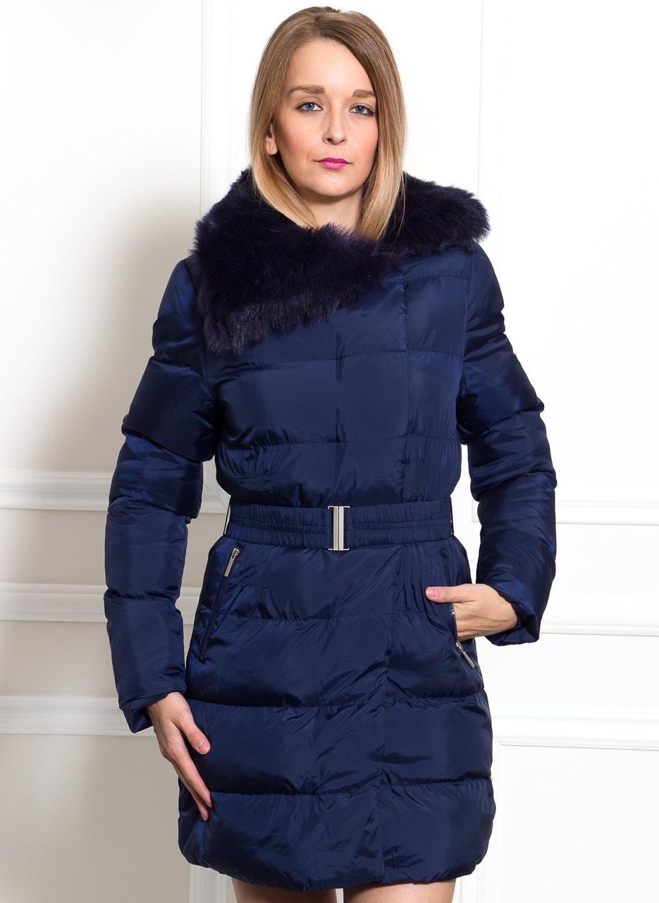 Glamadise.sk - Dámska modrá zimná bunda s opaskom - Due Linee ... ee1afd809ee