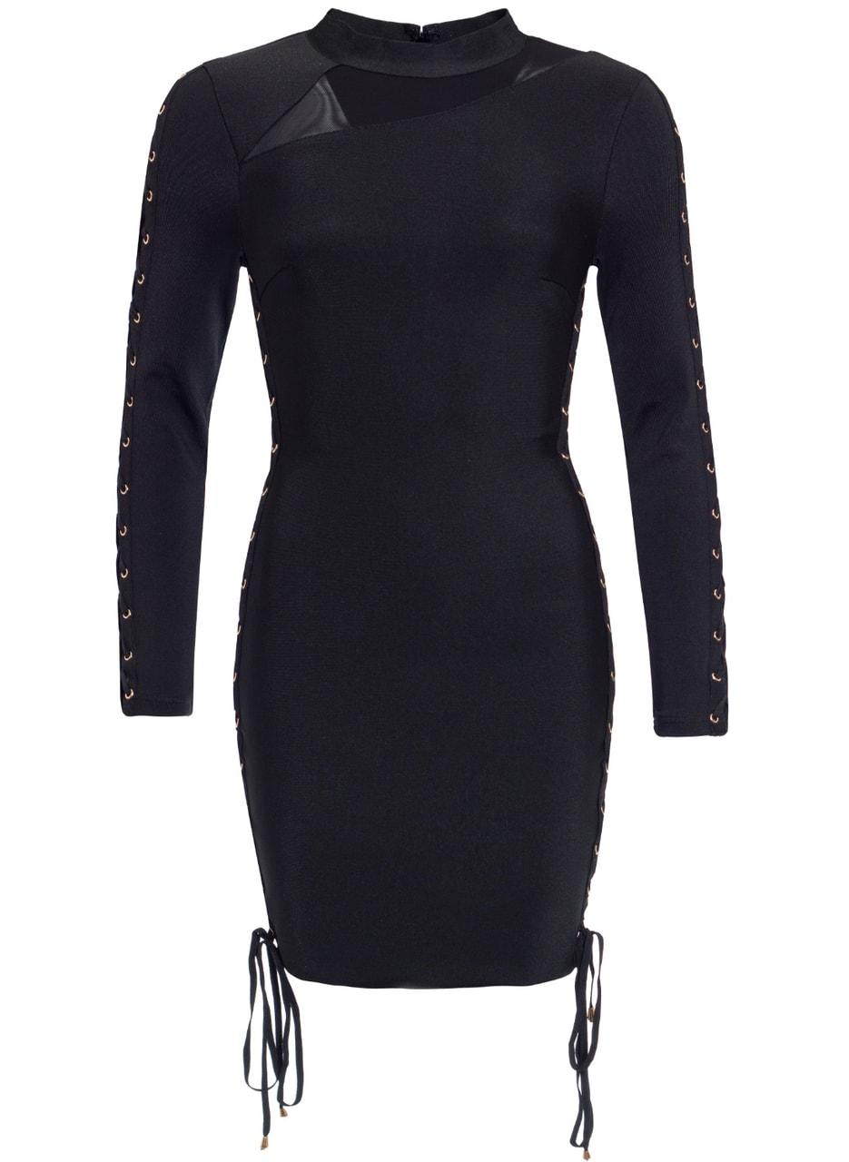 3badf46c59 Glamadise.sk - Dámske bandážové šaty s rukávom - čierna - Due Linee ...