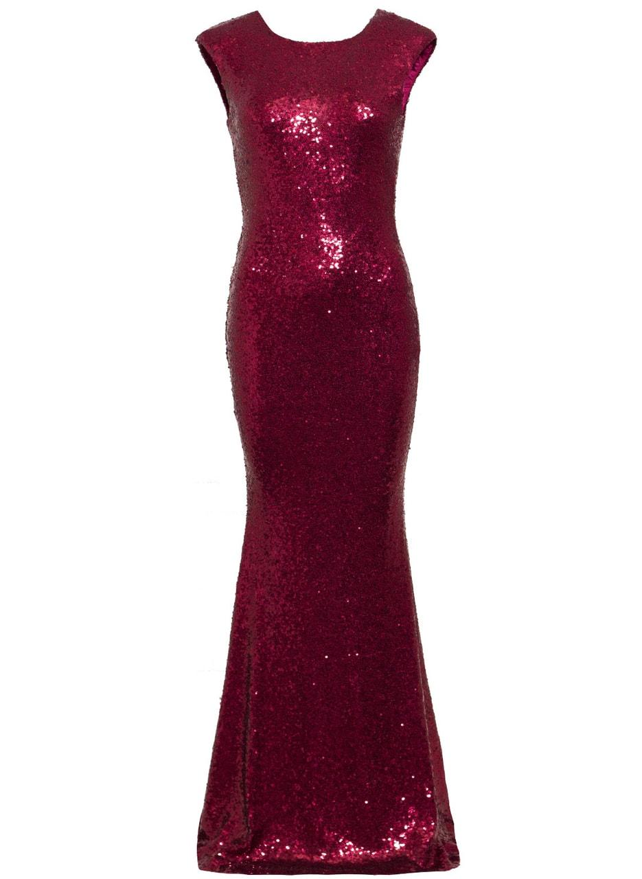 Glamadise.sk - Spoločenské luxusné dlhé šaty s flitrami - vínová ... bc4e51b653d