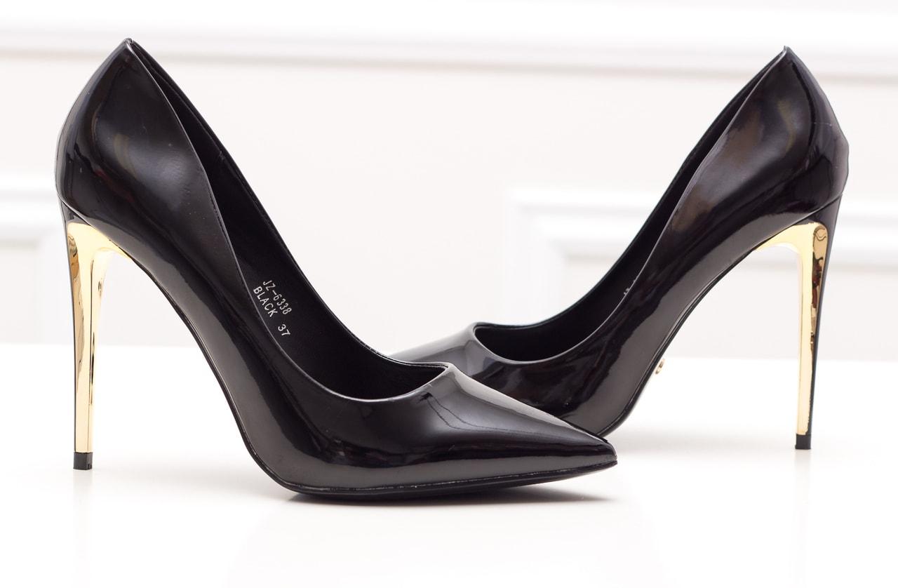 Dámské lakované lodičky - černo zlatá - GLAM GLAMADISE shoes ... 46645a73e6