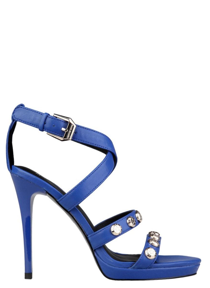 0a1cb91cae08 Glamadise.sk - Versace jeans sandále na podpätku modrej - Versace ...