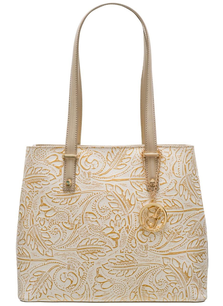 Glamadise.sk - Kožená kabelka s kvetmi cez rameno - zlatá ... 6953964d1c0