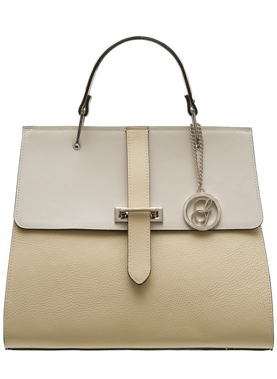 Women S Real Leather Handbag Glamorous By Glam Beige
