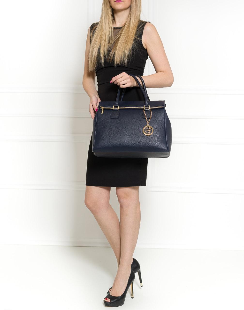 Glamadise.sk - Dámska kožená kabelka jednofarebná so zipsom - tmavá ... 97912d2fdb2
