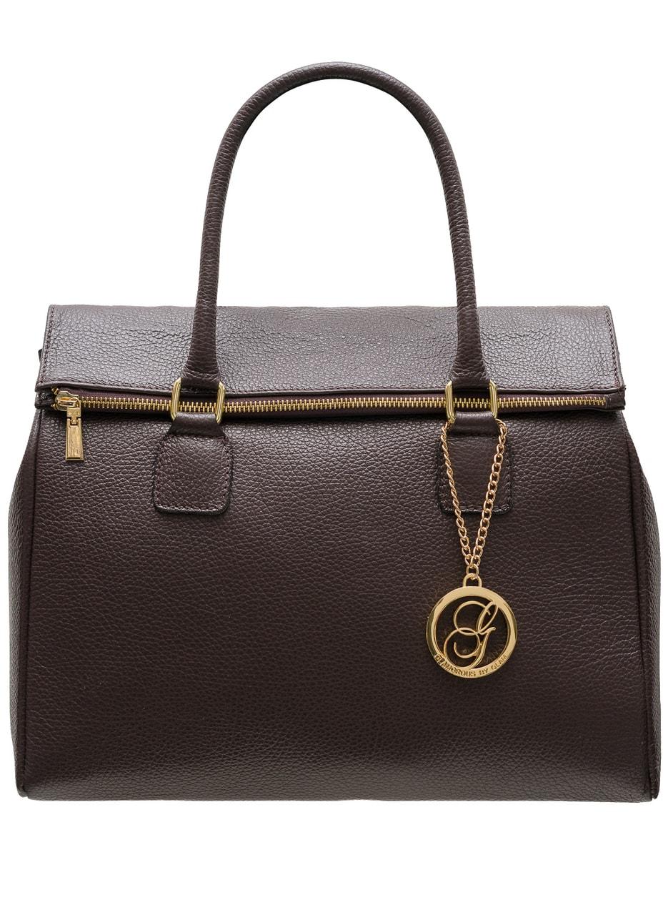 Glamadise.sk - Dámska kožená kabelka jednofarebná so zipsom - tmavo ... b3e7455227d