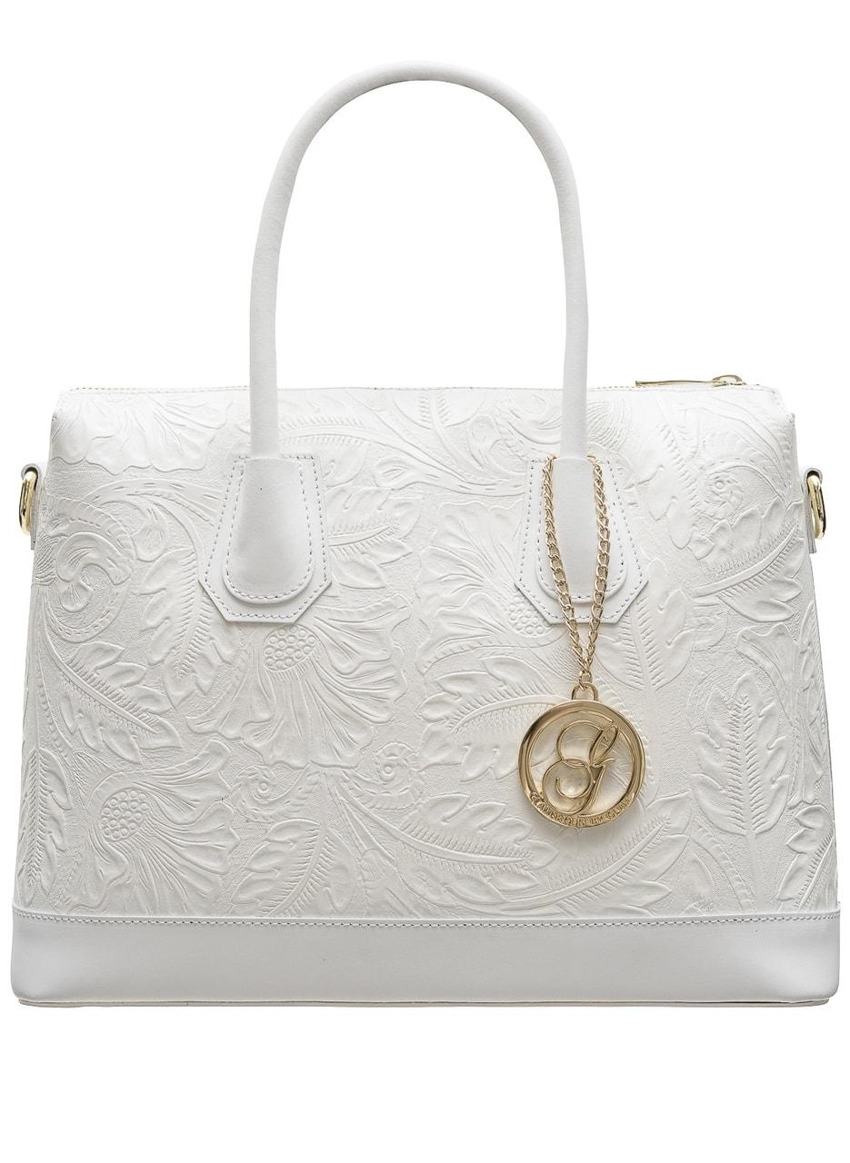 Glamadise.sk - Dámska kožená kabelka s kvetmi do ruky - biela ... b683ac1bb3c