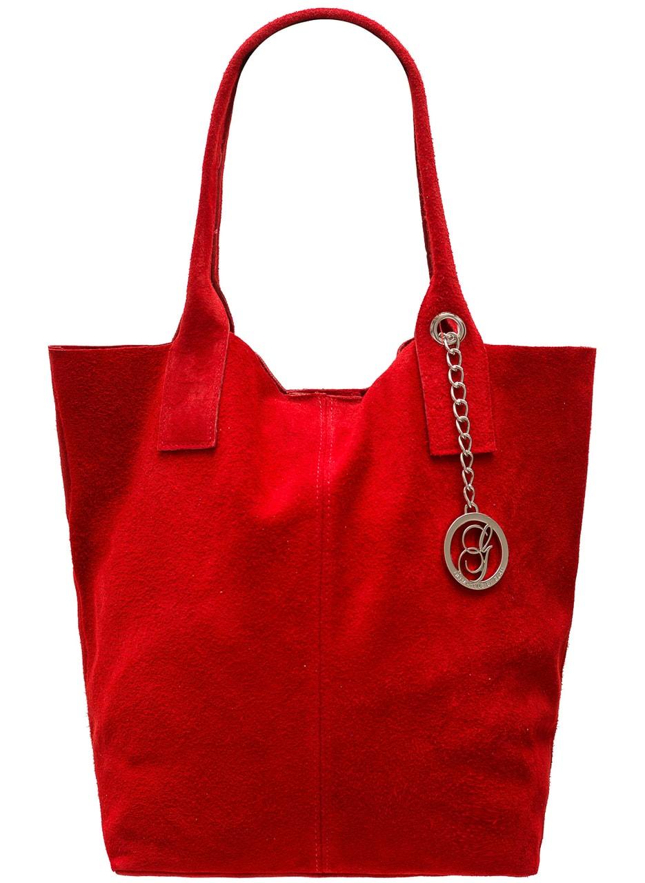 Glamadise.sk - Dámska kožená kabelka shopper semiš - červená ... 06d306060c9