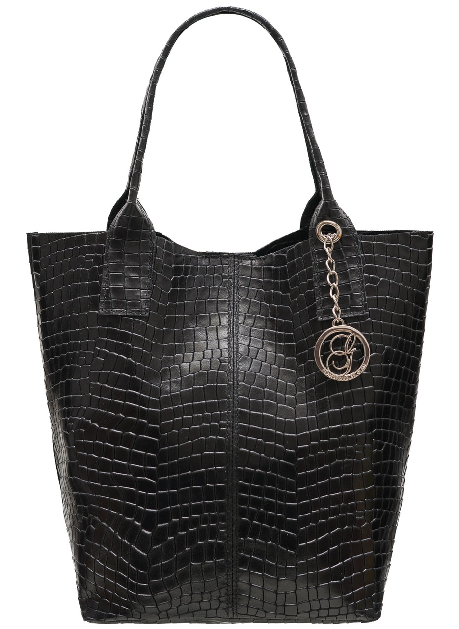 Glamadise.sk - Dámska kožená kabelka shopper hadí vzor - čierna ... ed2af2de094