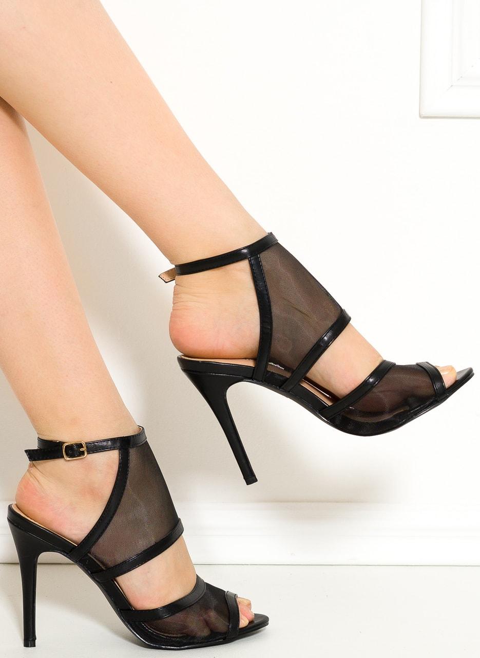 Glamadise.sk - Dámske remienkové topánky čierne so sieťkou ... 360b4b1899