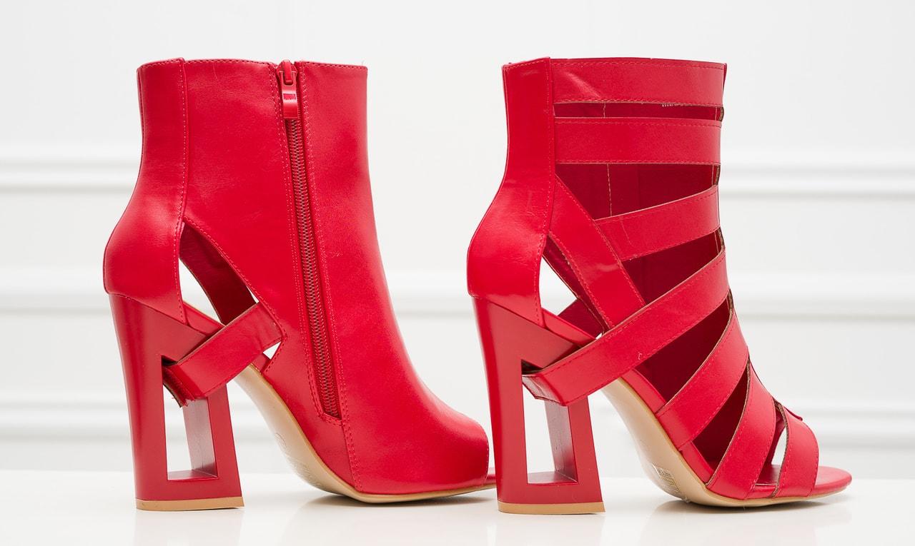 Glamadise.sk - Dámske remienkové sandále na podpätku červené ... f8935852c7