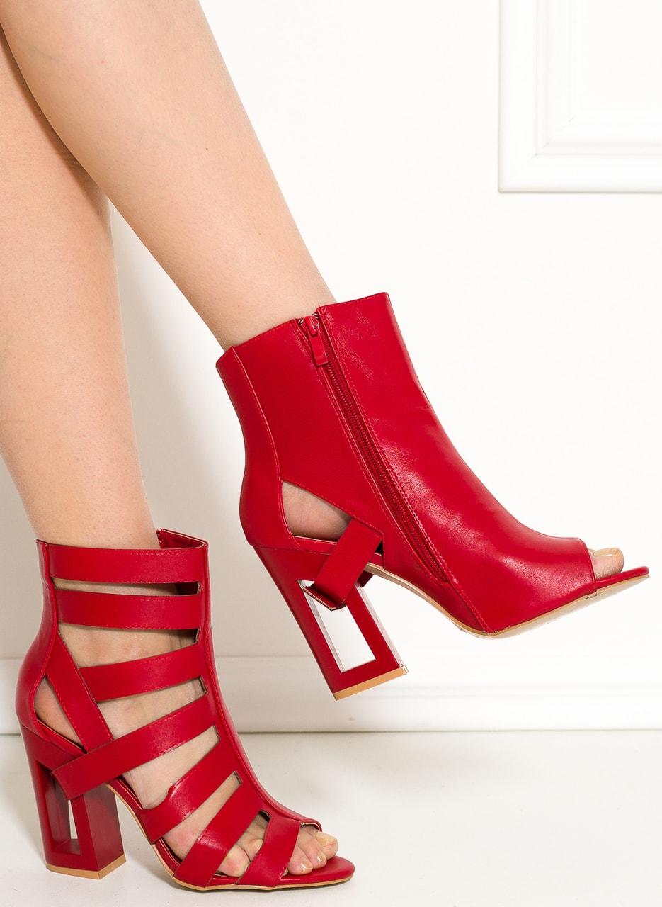 Dámské páskové sandály na podpatku červené - GLAM GLAMADISE shoes ... 07b1e2a60f5