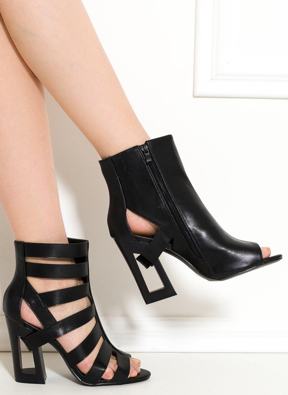 405c0449543 Dámské páskové sandály na podpatku černé - GLAM GLAMADISE shoes ...