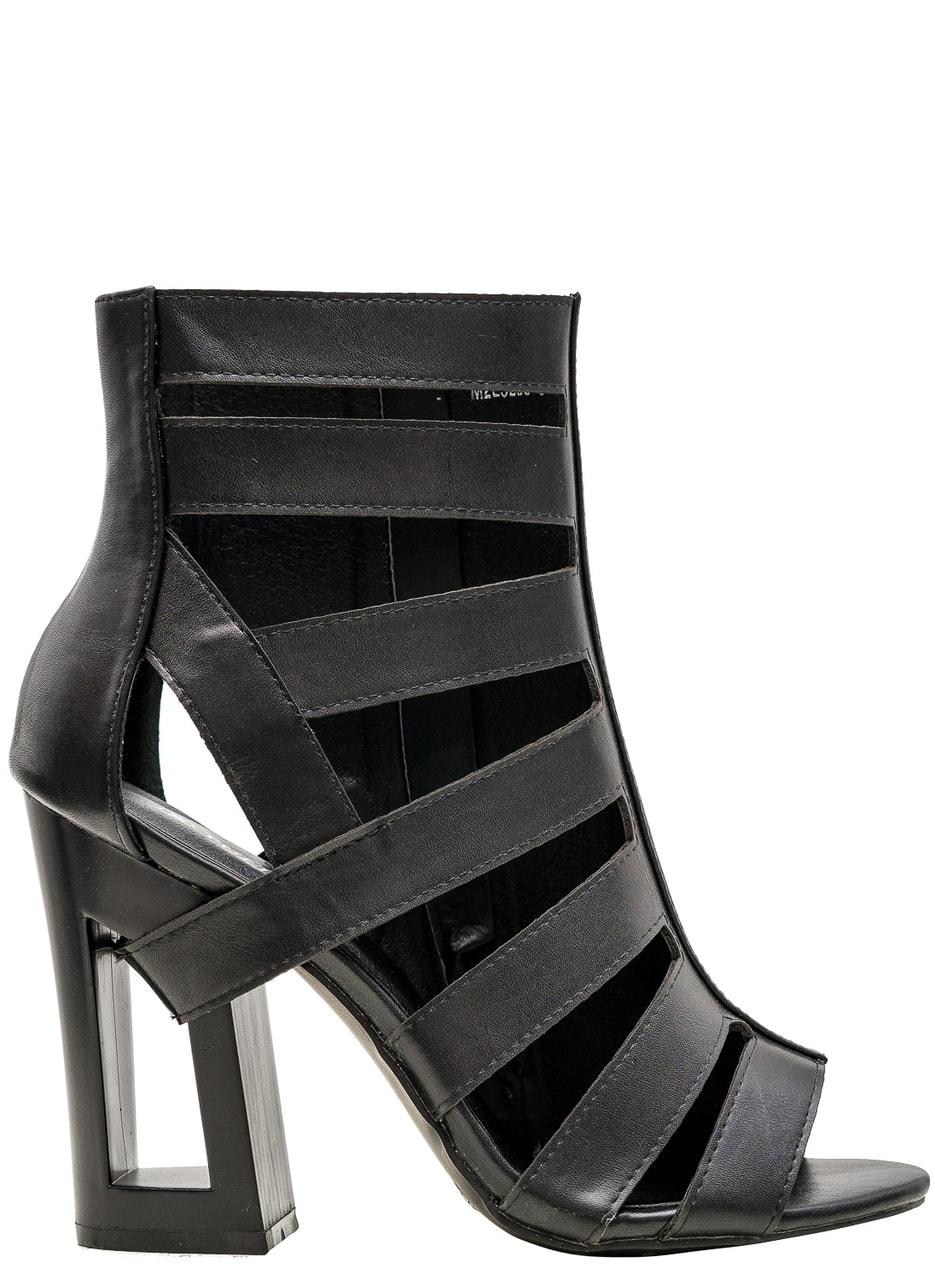 Dámské páskové sandály na podpatku černé - GLAM GLAMADISE shoes ... fd428b6d18