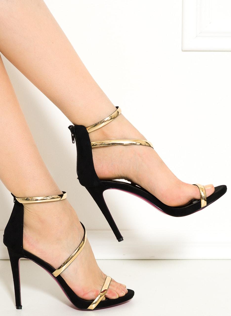 Glamadise.sk - Dámske čierno-zlaté sandále - GLAM GLAMADISE shoes ... b2fee49084