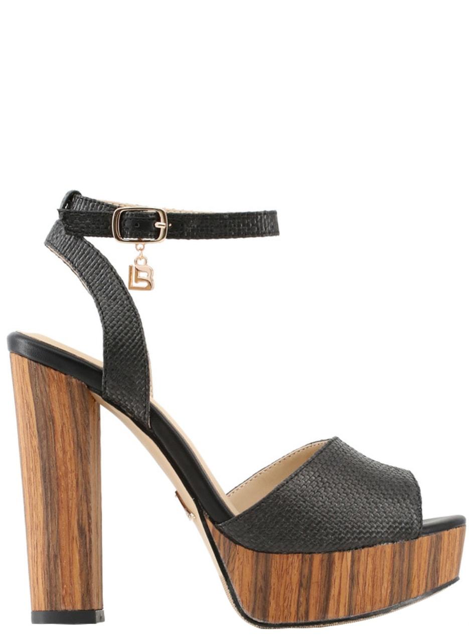 7dcee4f22c5e Glamadise.sk - Dámske sandále na platforme čierne - Laura Biagotti ...