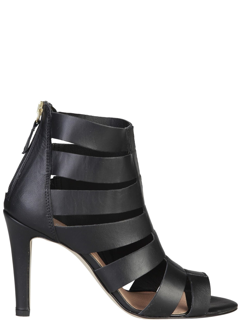 Dámské kožené páskové sandály černé - Pierre Cardin - Kotníkové ... 2cc20f2db3