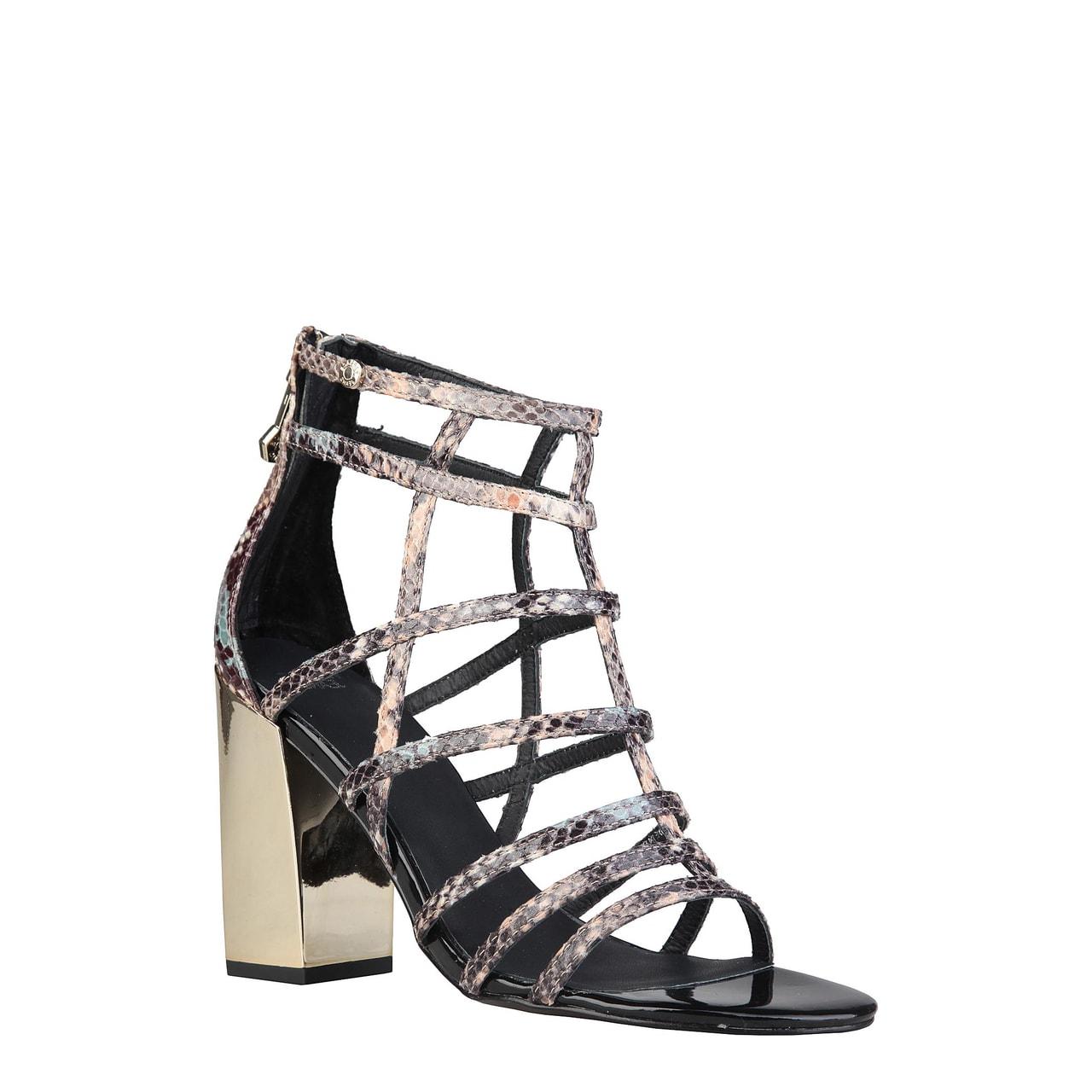 d1ac68046ad Glamadise.sk - Versace jeans remienkové sandále na podpätku hadie ...