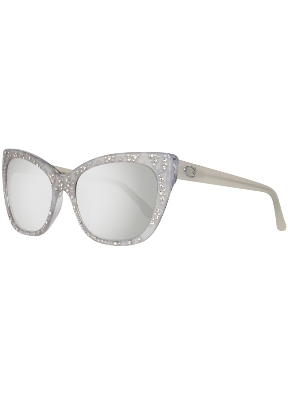 Glamadise.sk - Guess slnečné okuliare strieborné s kamienkami ... 652c9f82b26