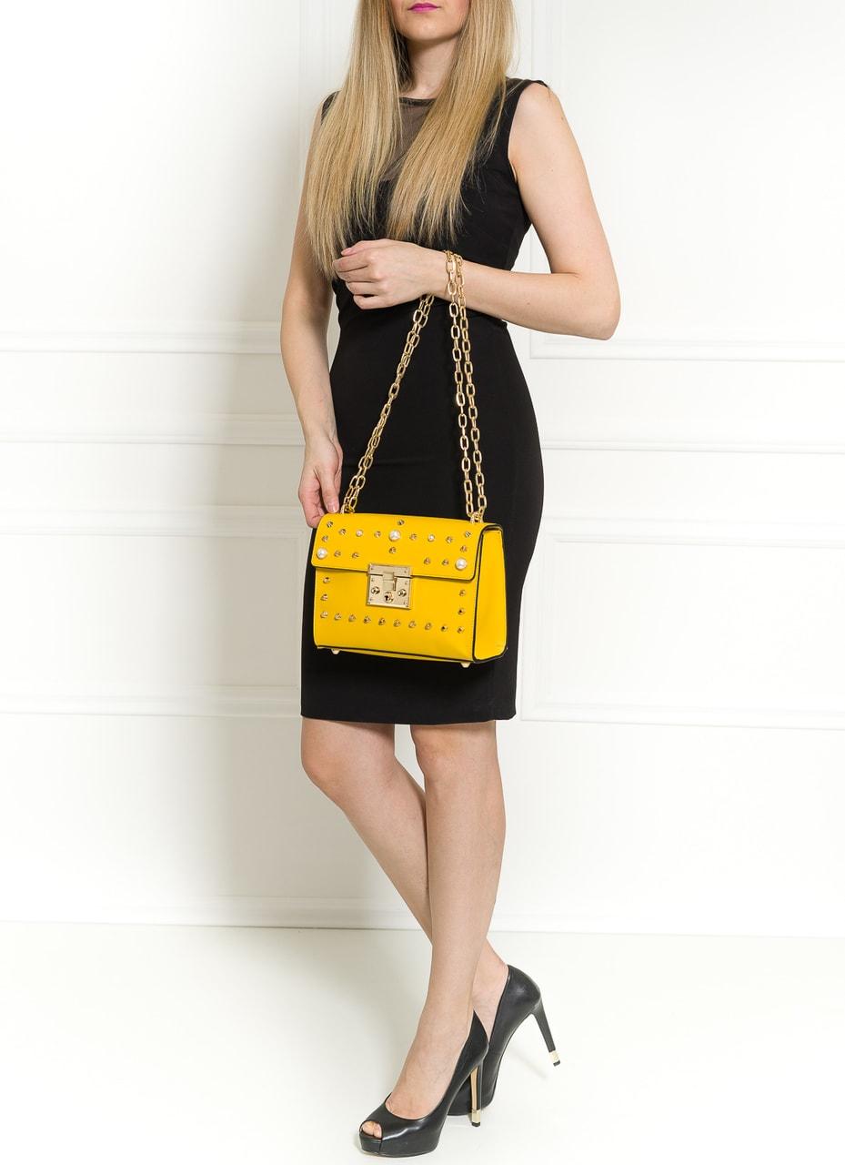 Glamadise.sk - Dámska kožená crossbody kabelky s perličkami - žltá ... 79c0e8e74ac
