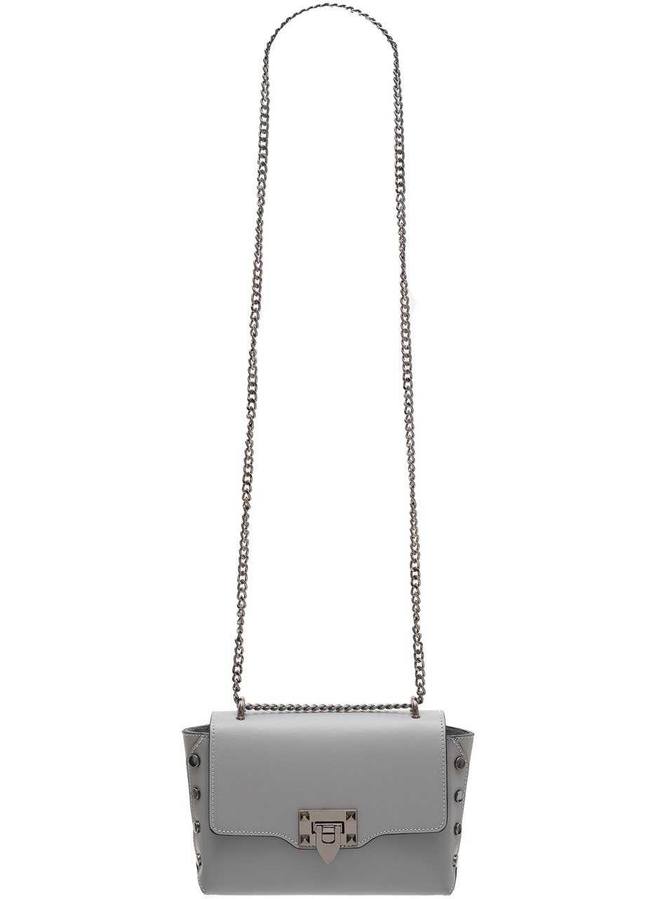 Glamadise.sk - Dámska kožená crossbody kabelky s cvokmi - šedá ... a733a413830
