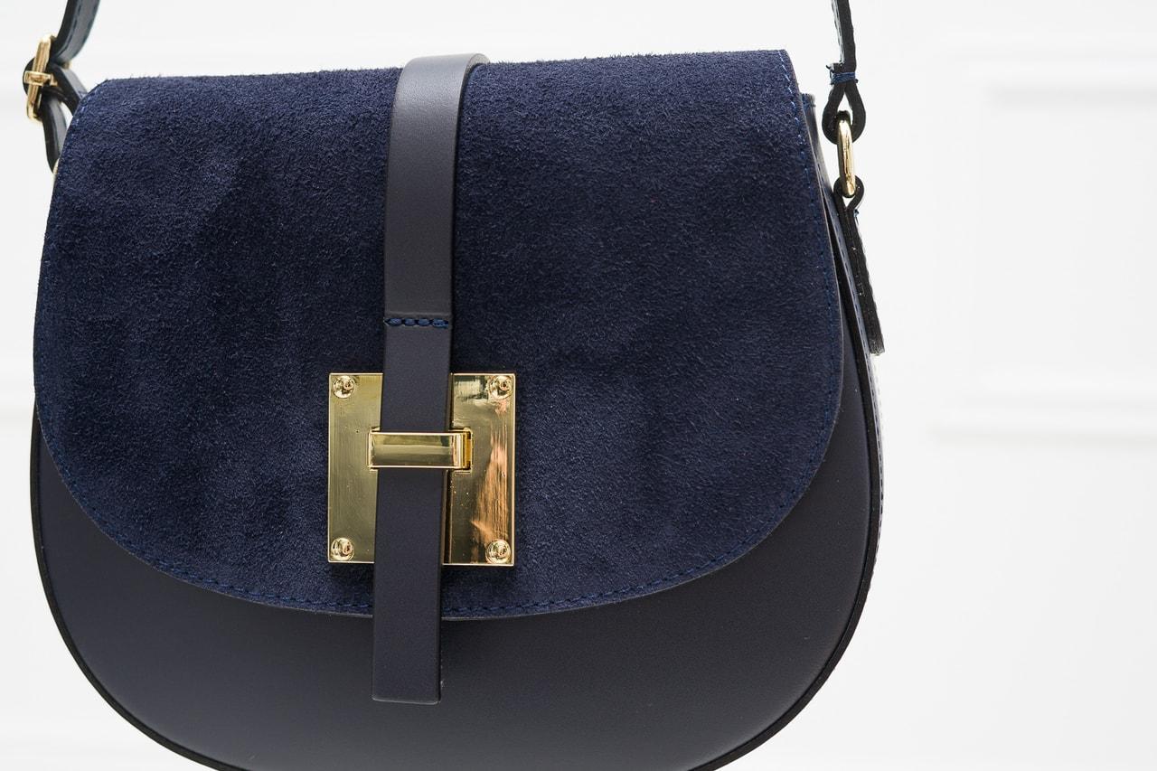Dámská kožená crossbody kabelka kombinace semiš - tmavě modrá ... 2194e5bef5a