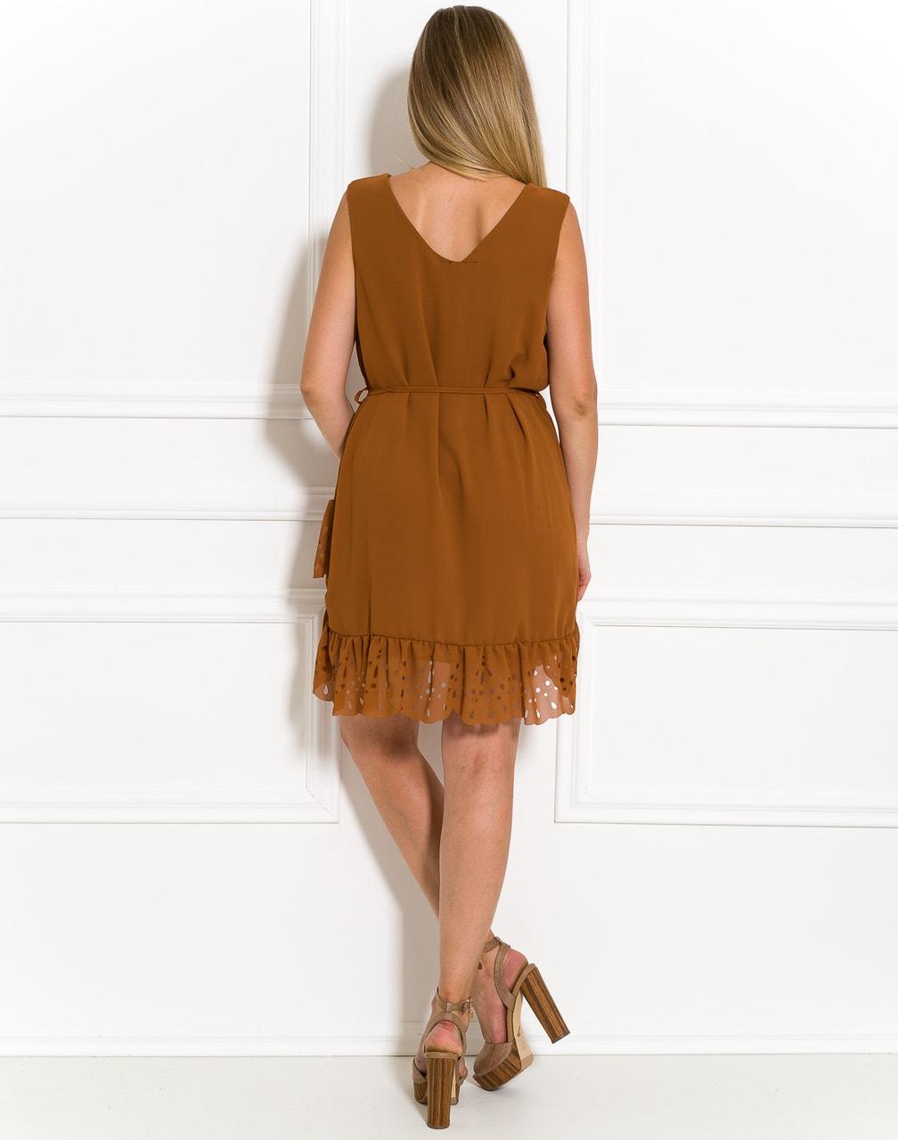 Glamadise.sk - Letné okrovej šaty s perforovaným volánom - Glamorous ... 8cf34366412