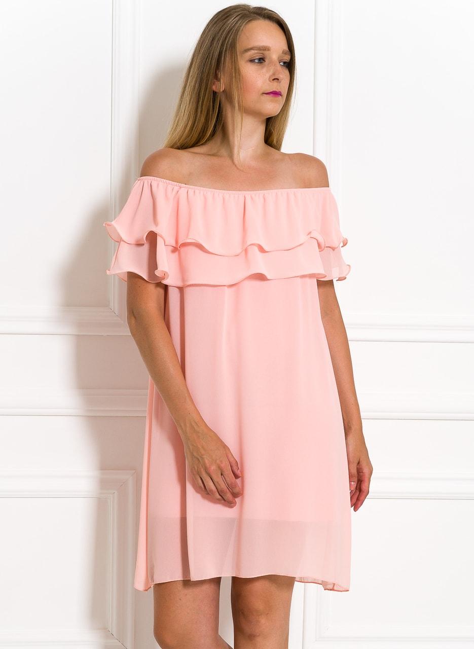 Glamadise.sk - Dámske letné šaty s volánom svetlo ružové - Glamorous ... 04321dd4e45