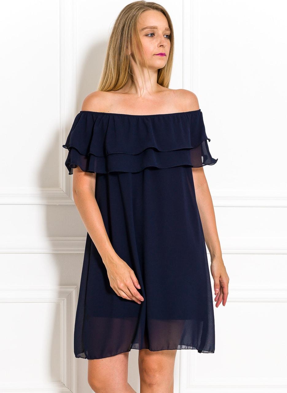Dámské letní šaty s volánem tmavě modré - Glamorous by Glam - Letní ... e201e5f411a