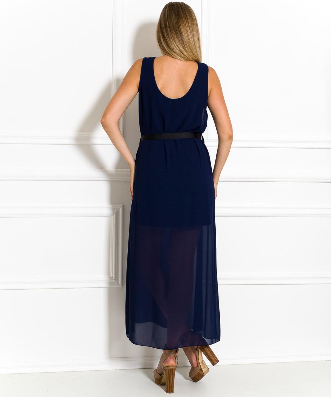 Dlouhé šaty tmavě modré šifonové - Glamorous by Glam - Letní šaty ... 77a8e65f4c