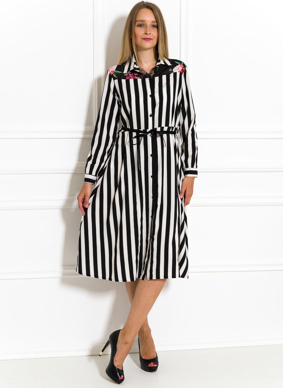Glamadise.sk - Saténové košeľové šaty čierno-biele - Glamorous by ... c8d46a6e60