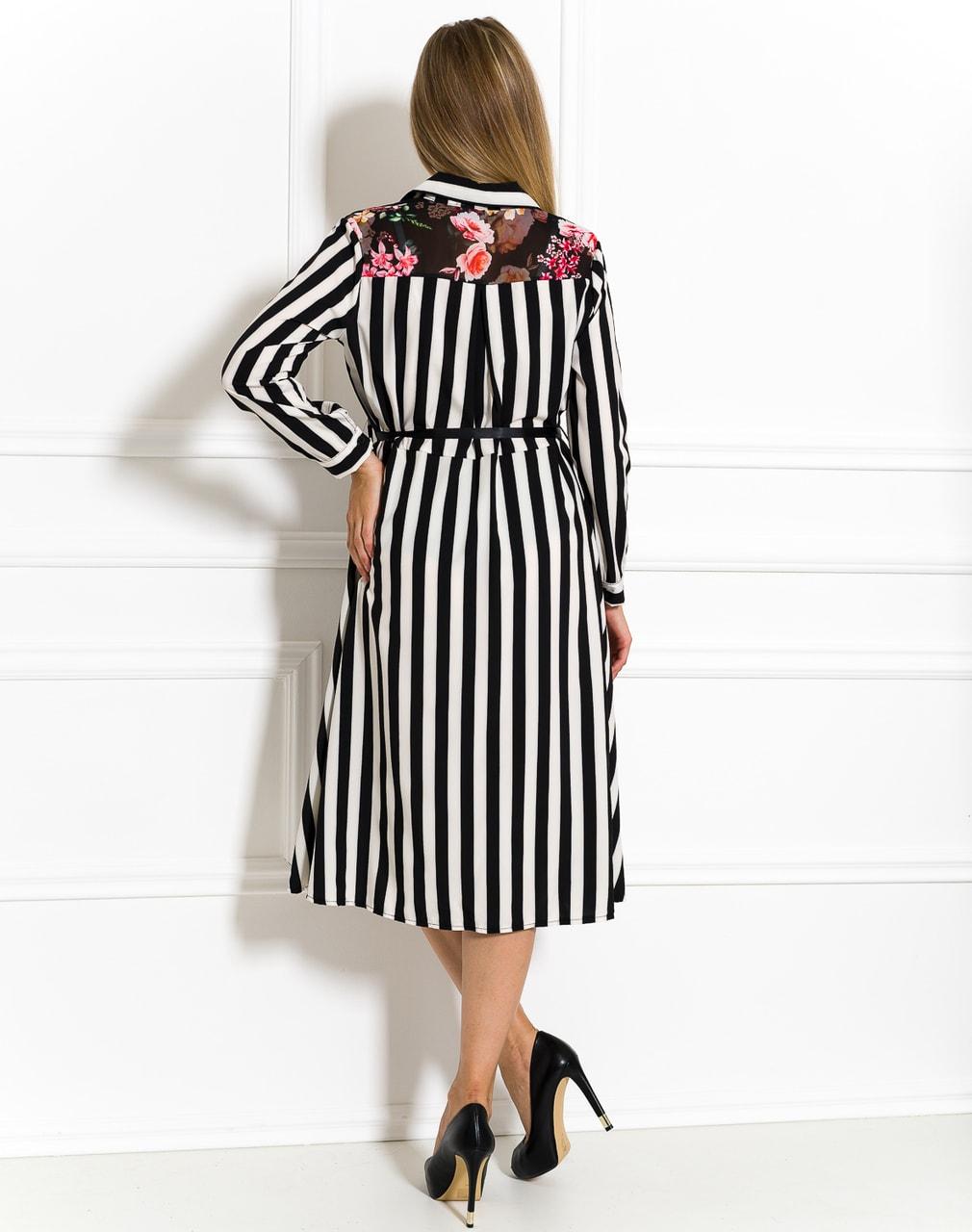 09933aa86d8 Saténové košilové šaty černo-bílé - Glamorous by Glam - Letní šaty ...