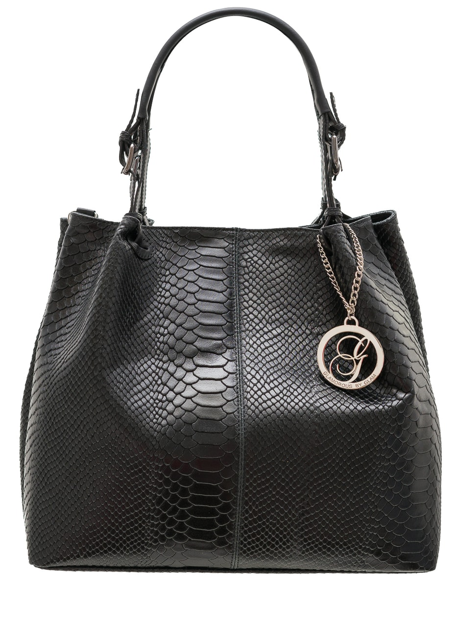 Dámská kožená kabelka přes rameno s přezkami had - černá - Glamorous ... b10adbf128