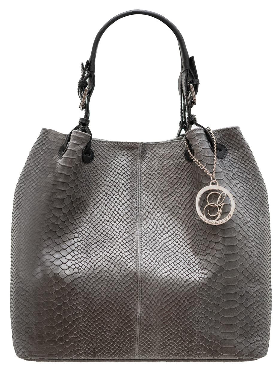 Glamadise.sk - Dámska kožená kabelka cez rameno s prackami had ... 88d3648c804