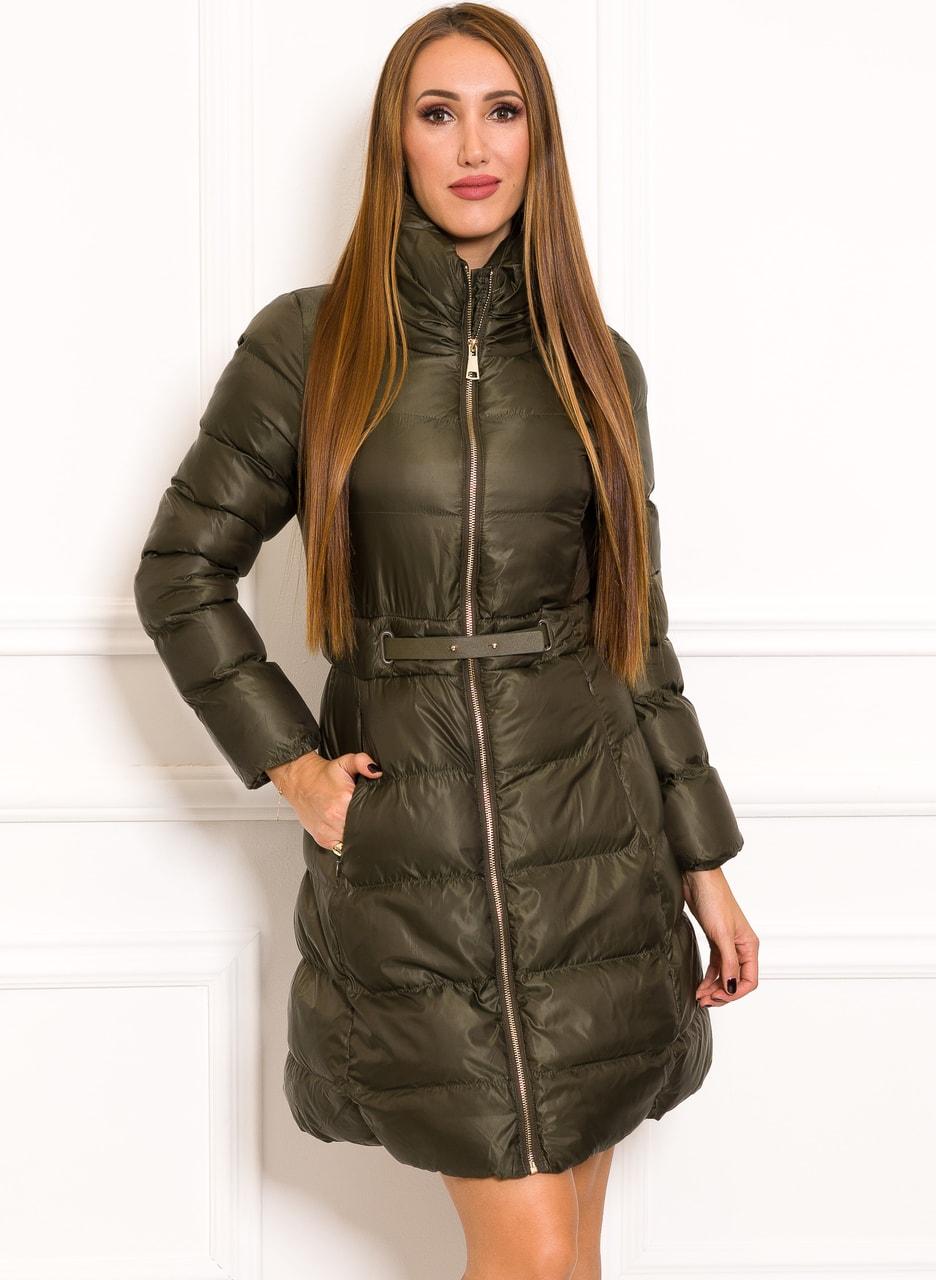 Glamadise.sk - Dámska zimná khaki bunda s opaskom - Due Linee ... 22d8824ca60