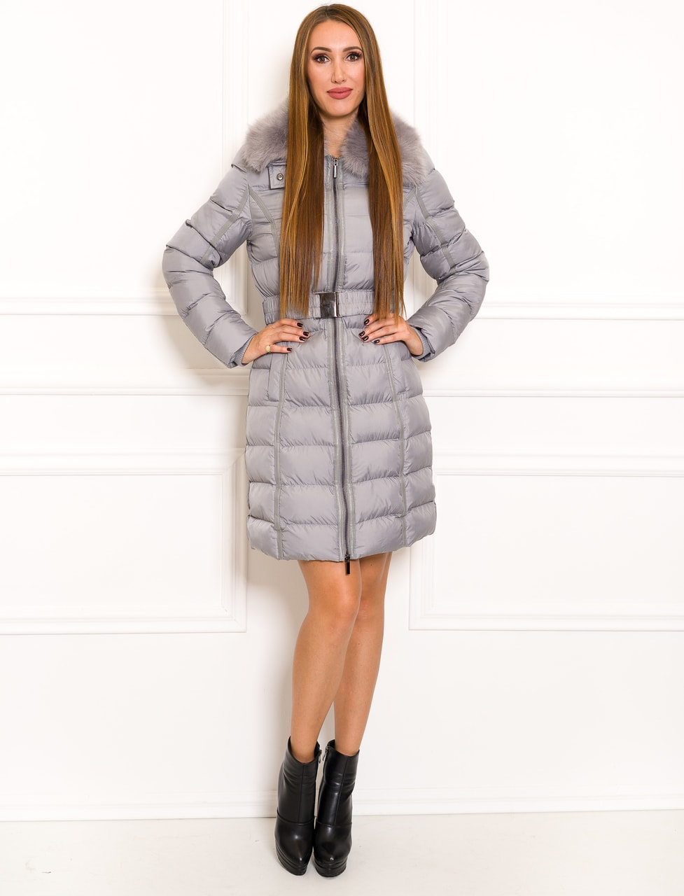 783ef6ab3a Glamadise.hu Fashion paradise - Női téli kabát Due Linee - Szürke ...