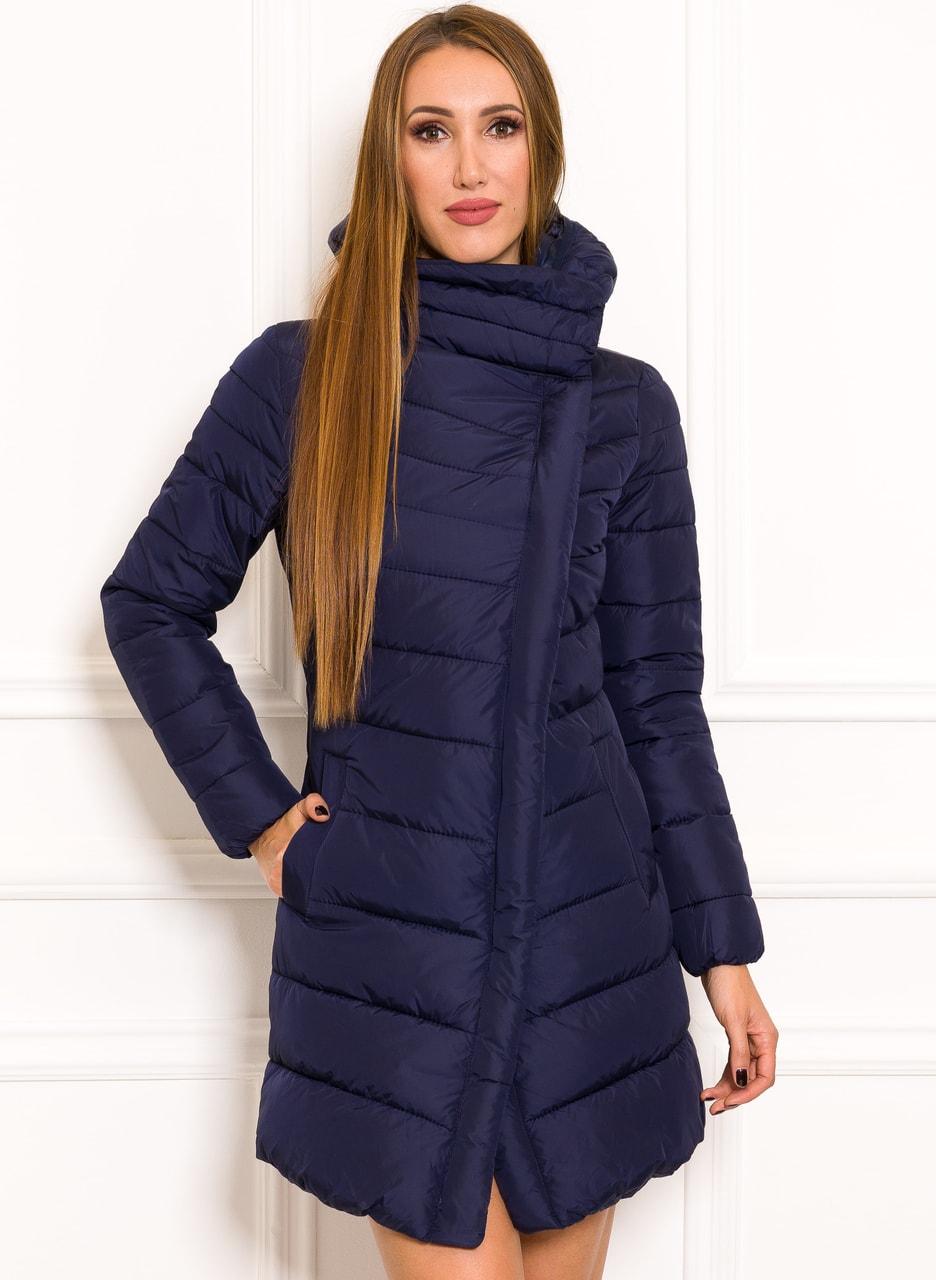 Glamadise.sk - Dámska zimná bunda s asymetrickým zipsom tmavo modrá ... 745f04c9c7e