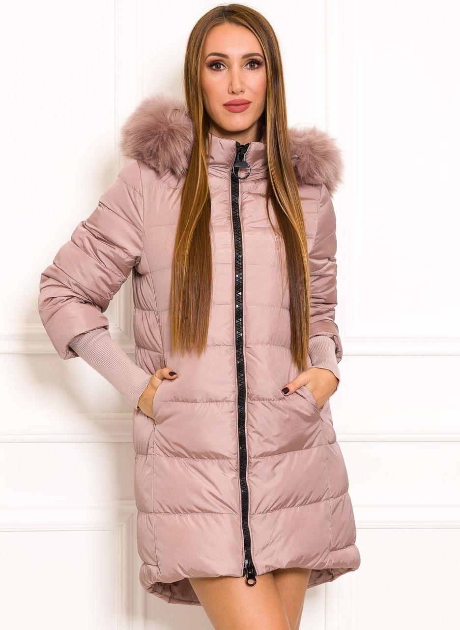 Dámská zimní bunda s nápletovými rukávy světle růžová - Due Linee ... 3d041765a3