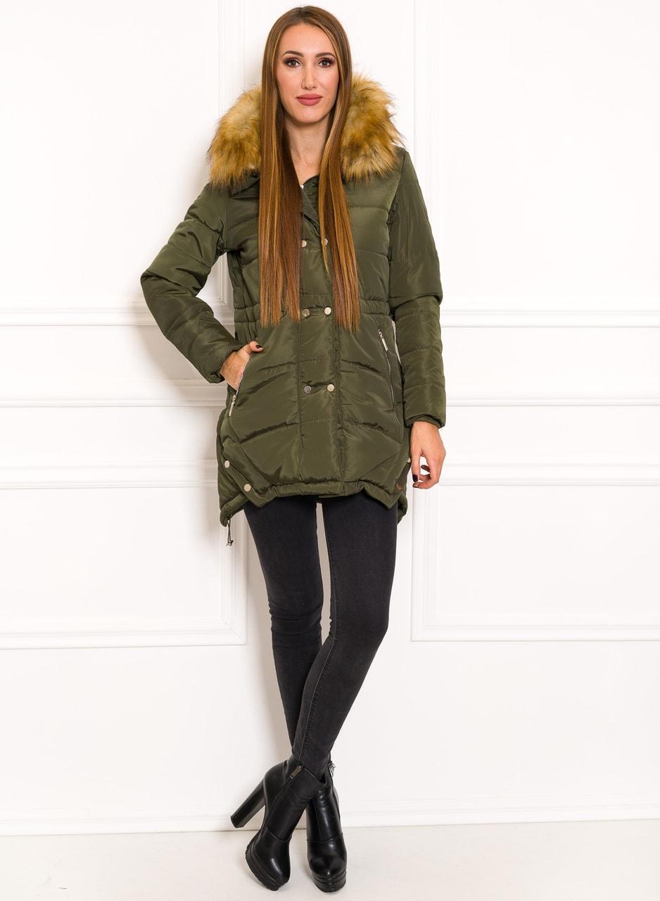 Dámská zelená zimní bunda s patenty - Due Linee - Zimní bundy ... 96ac3656535