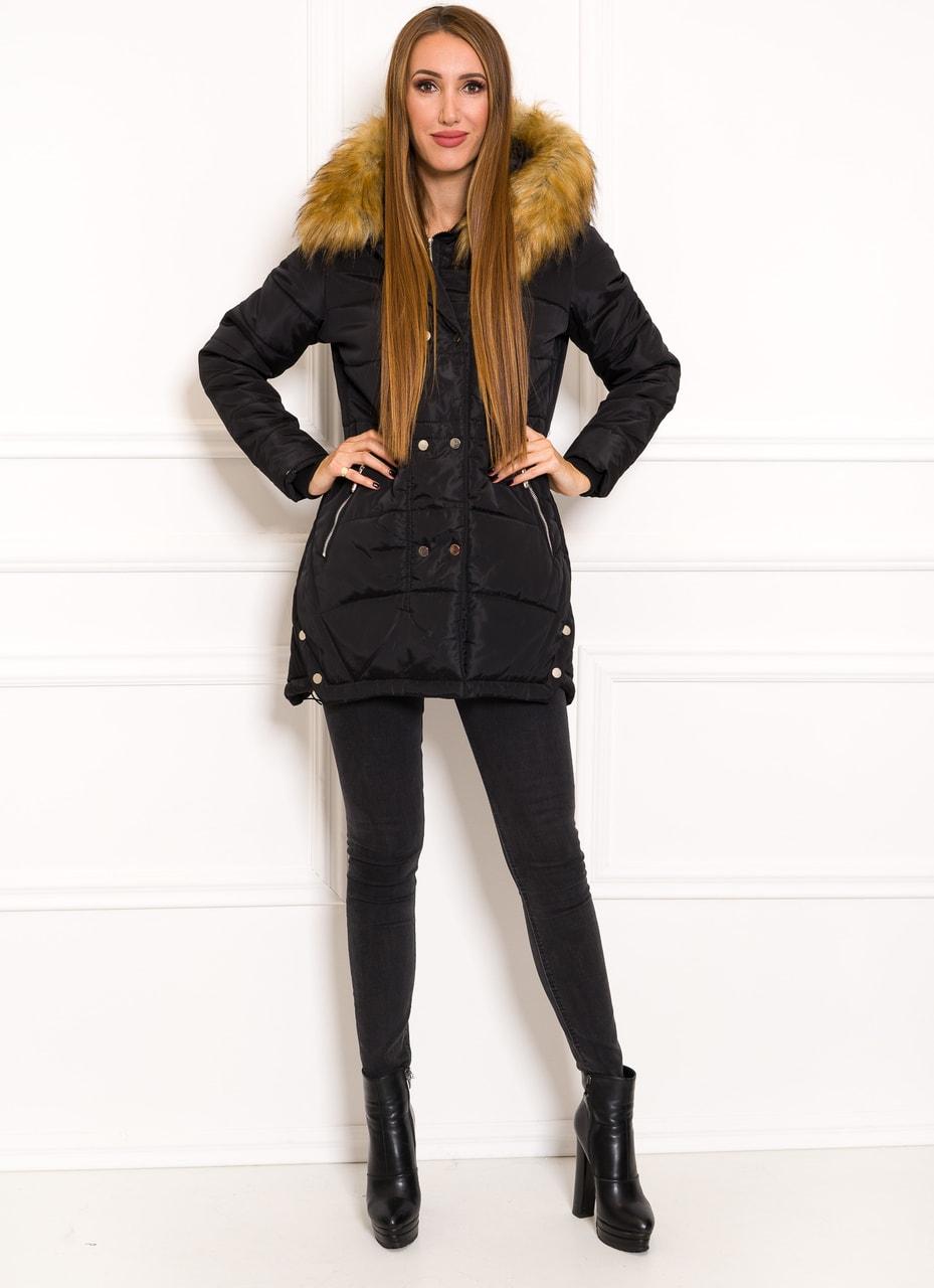 Glamadise.sk - Dámska čierna zimná bunda s patentmi - Due Linee ... fdf857ea426