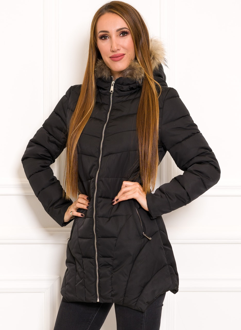 Glamadise.sk - Dámska zimná bunda s pravým mývalovcem čierna - Due ... 648d6aec799