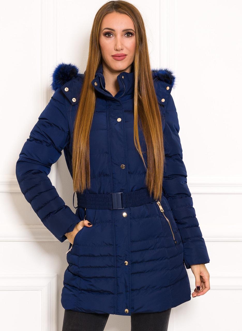Glamadise.sk - Dámska Vyteplený zimné bundy s pásikom modrá - Due ... 9ad6f455dcb