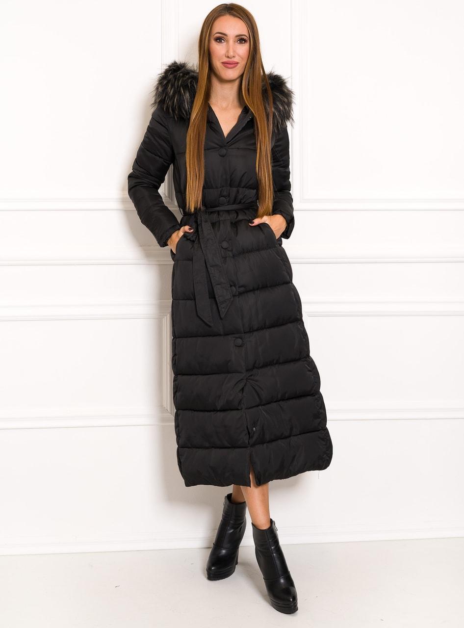 Glamadise.sk - Dámska dlhá zimná bunda na viazanie čierna - Due ... ed7c9016b6c