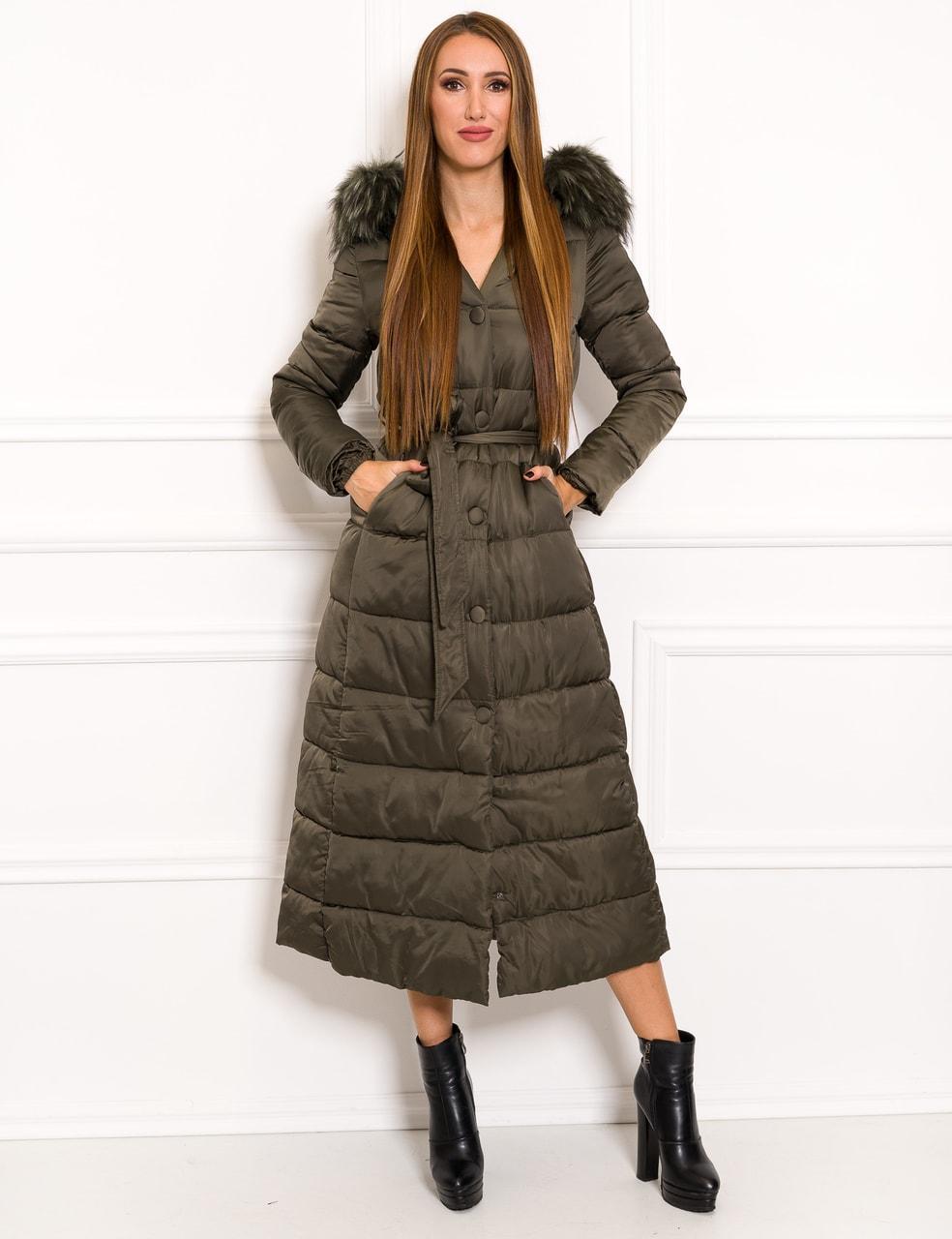 452457f07 Glamadise.sk - Dámska dlhá zimná bunda na viazanie olivová - Due ...
