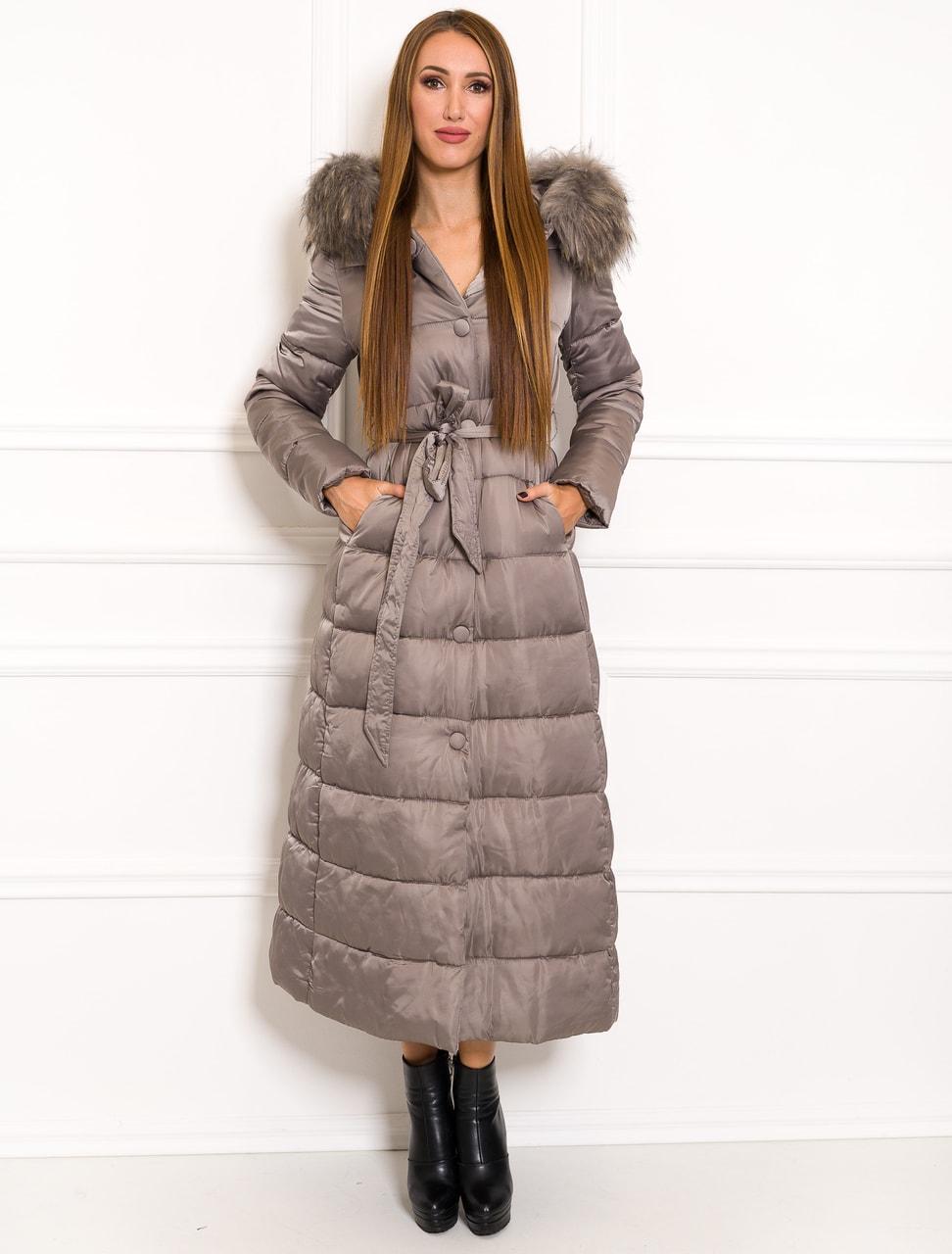 Glamadise.sk - Dámska dlhá zimná bunda na viazanie béžová - Due ... 509685cac4e