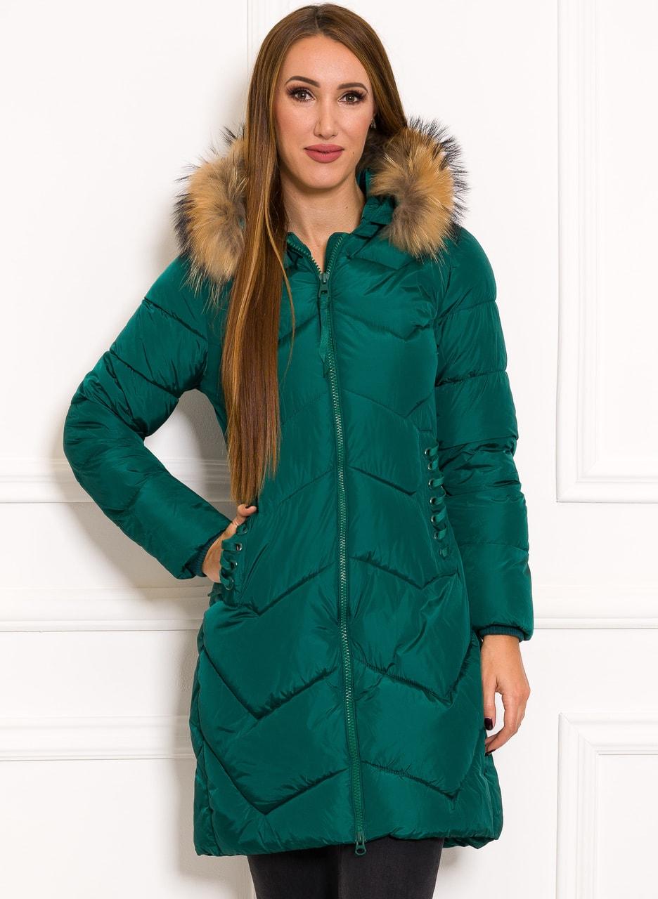 Glamadise.sk - Dámska zelená zimná bunda s pravou kožušinou ... 8431fb9133b