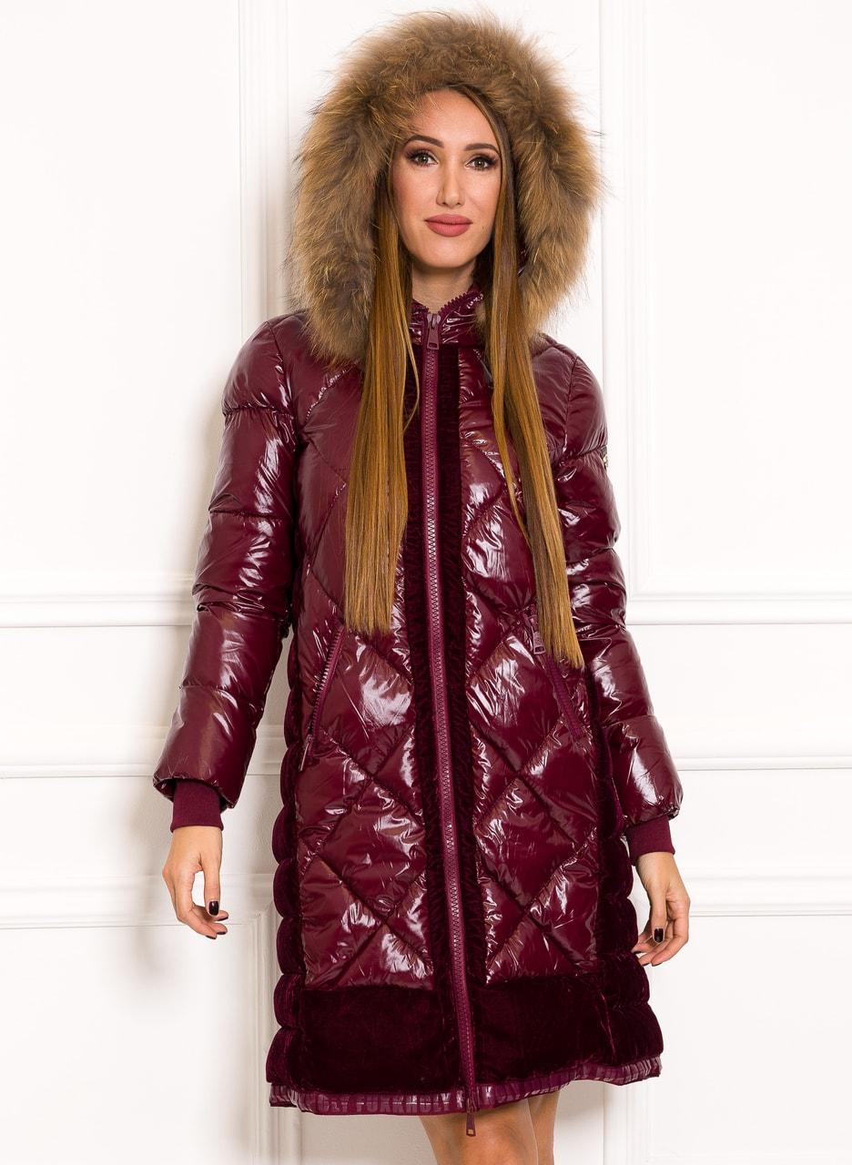 Glamadise.sk - Dámska zimná bunda lesklá s velúrom a pravou kožušiny ... d2ef9b5851a